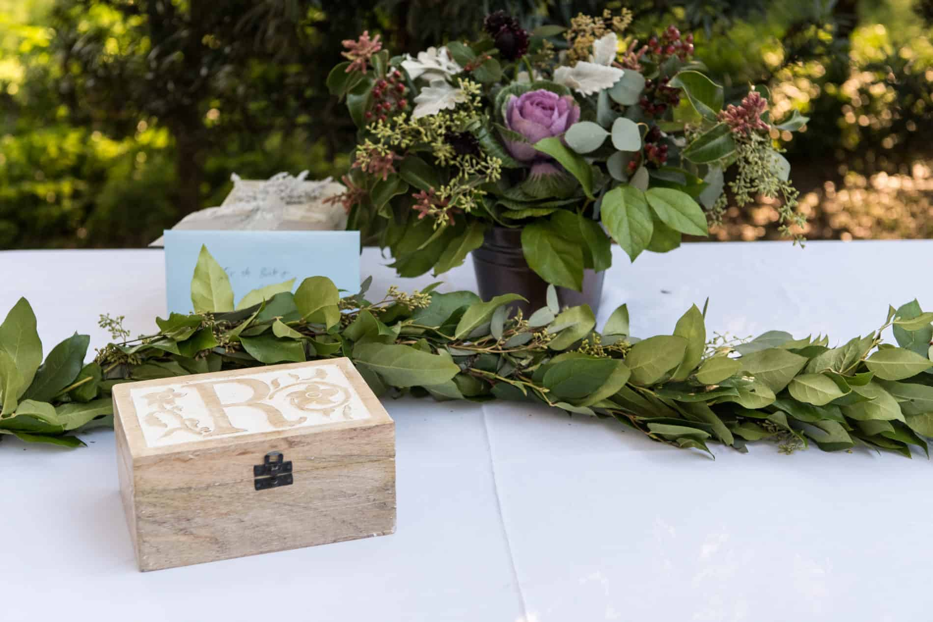 Beautiful handmade details outdoors at a wedding