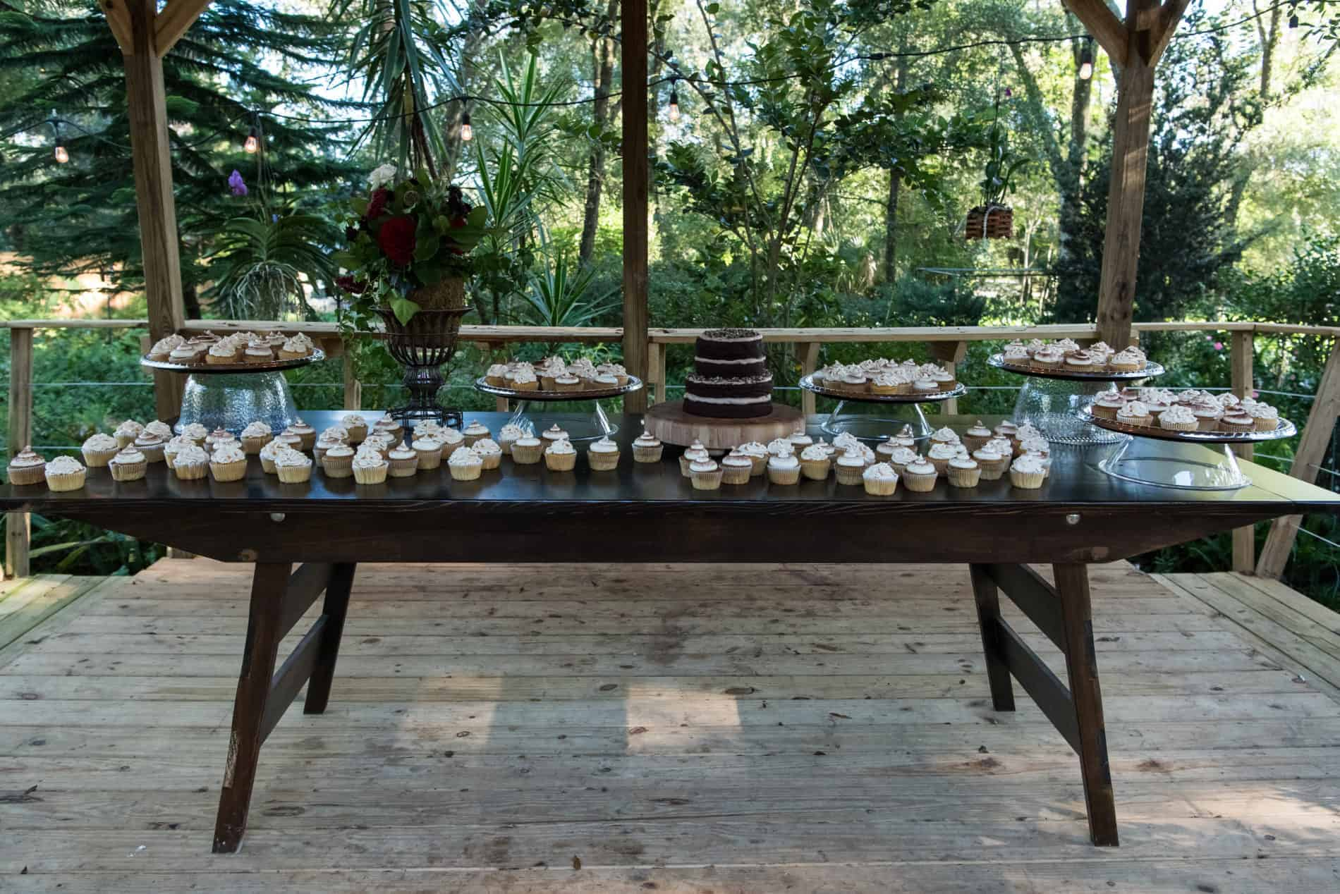 Outdoor dessert bar together with a fall themed wedding