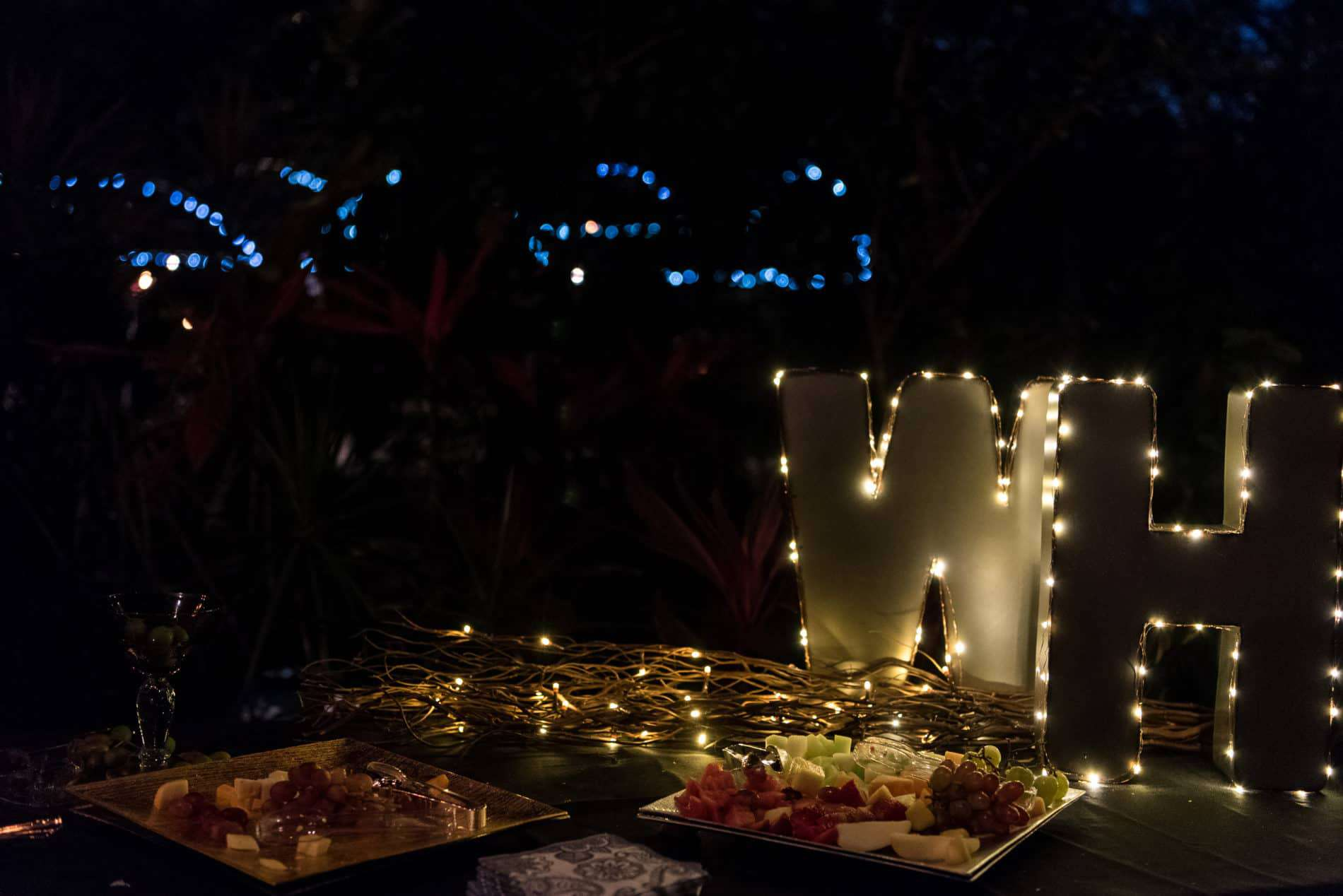 Nighttime outdoor wedding reception details