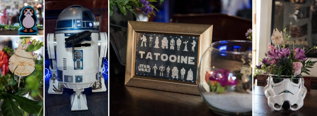Star Wars Wedding Sign and R2-D2 ringbearer at a Star Wars Wedding