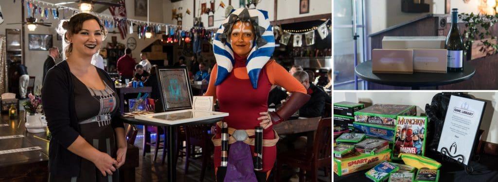 Star Wars themed food server at a Star Wars Wedding