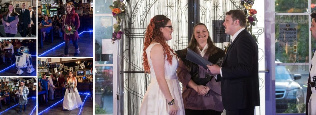 Bride and Groom reading their vows at a Star Wars Wedding