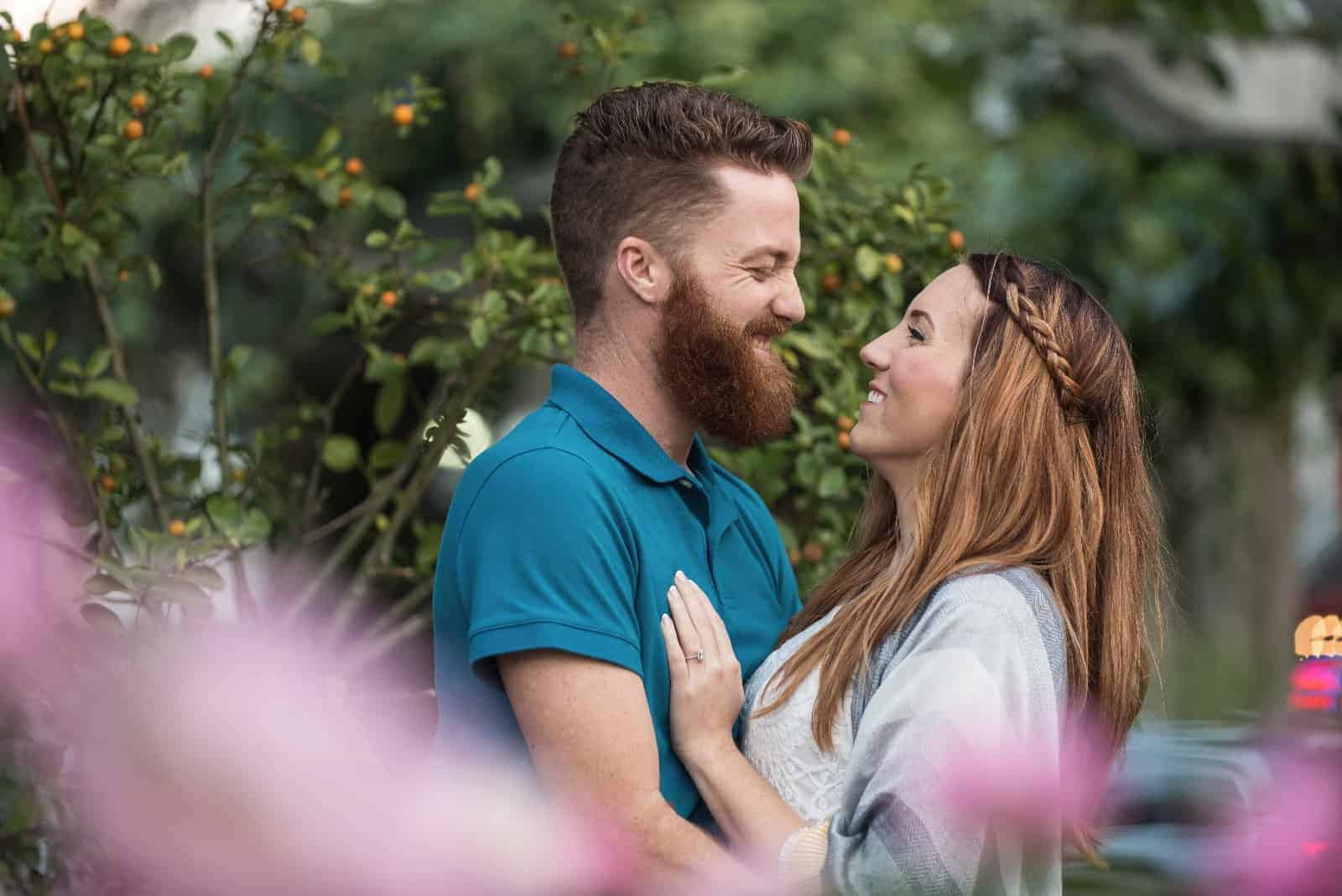 Beautiful Couple Smiling in a Park