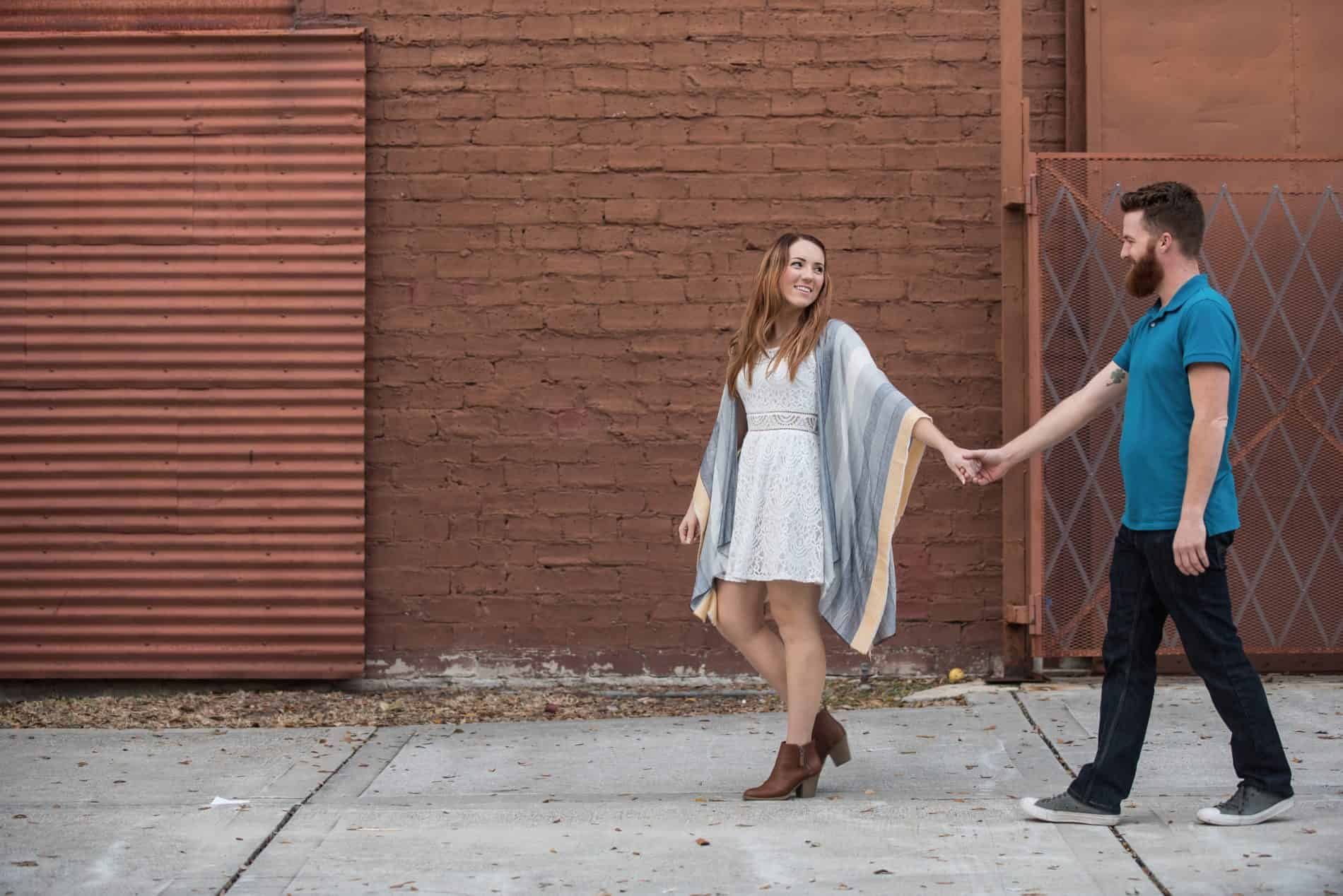She walks her engaged partner in this engagement session