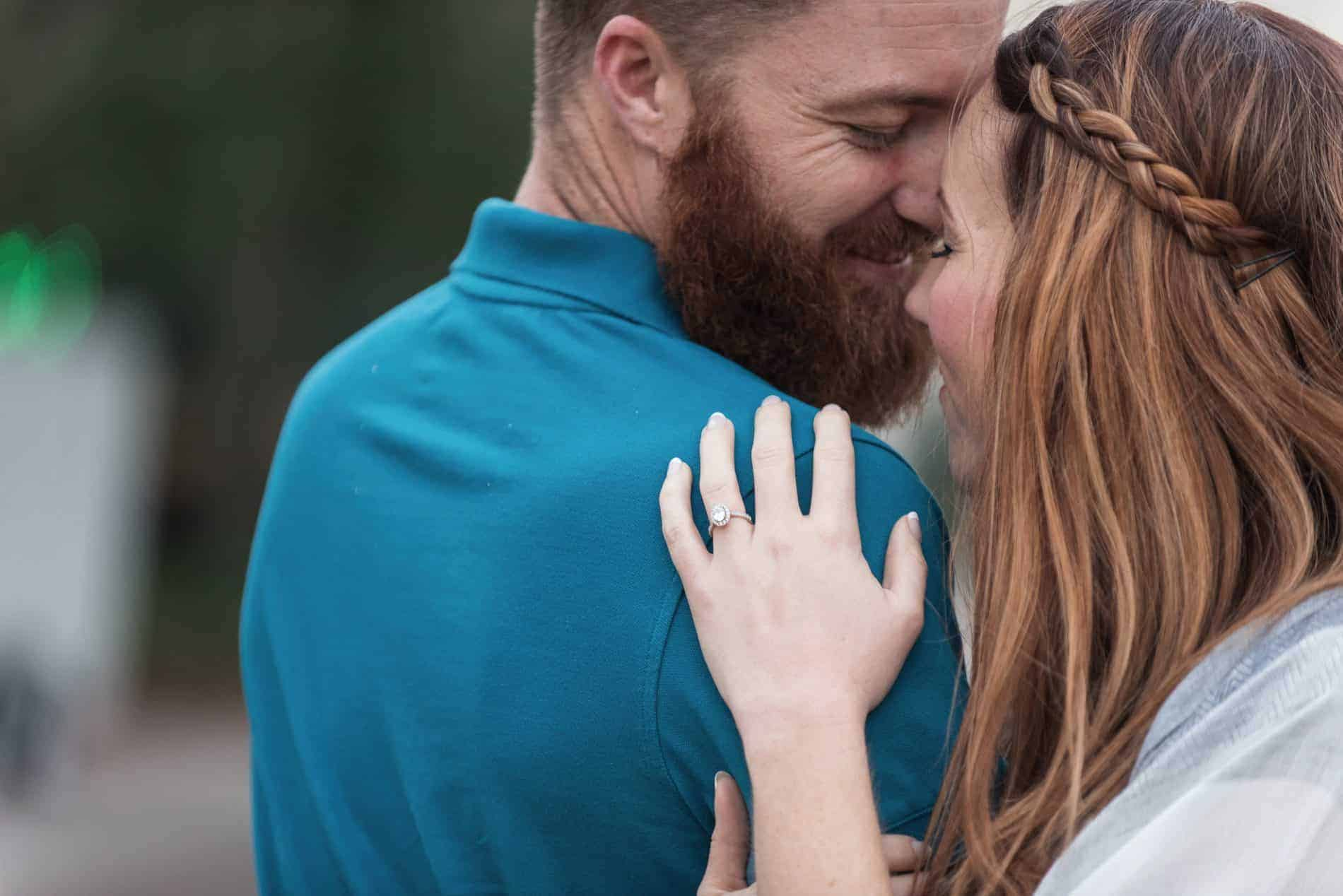 Close intimate moment during a Winter Garden Engagement Session