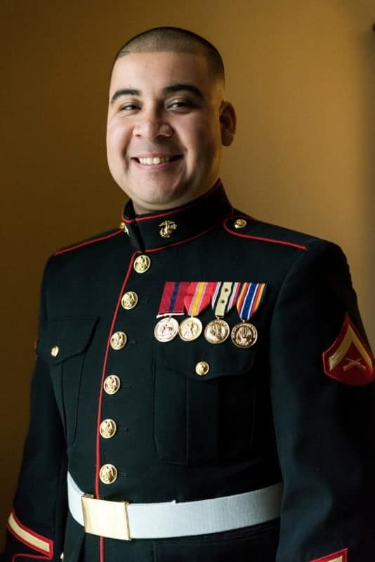 Marine Corps Groom portrait before his Orlando Wedding