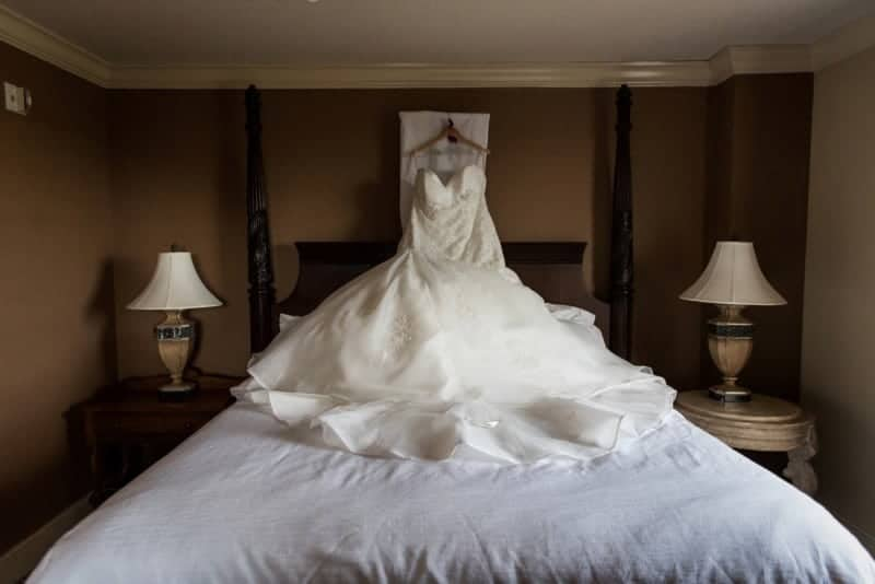 Amazing Wedding Dress photographed in downtown Orlando Hotel