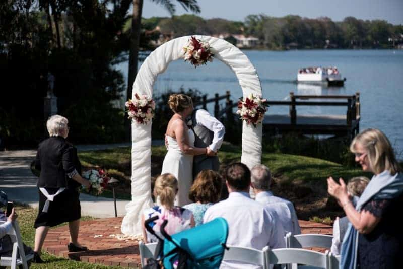 First Kiss outdoors at Vows at the Capen House