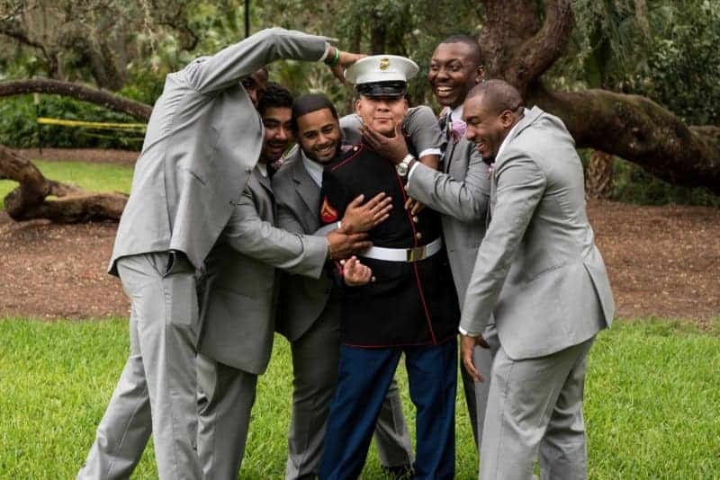 Service buddies clown around with the Groom in Downtown Orlando Park