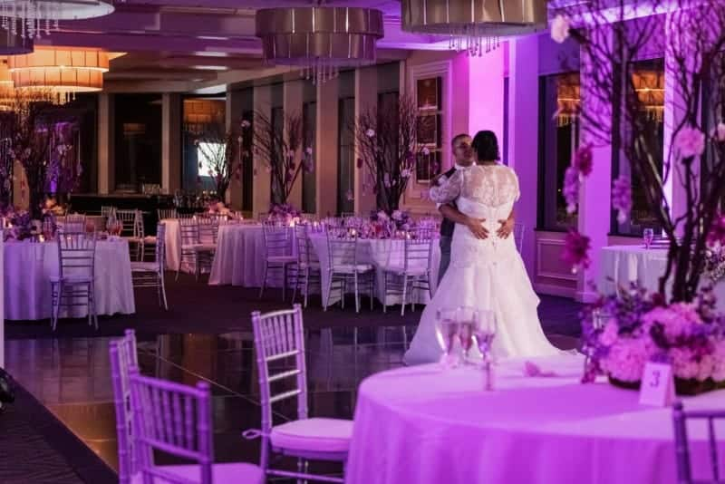 Bride and Groom having last dance at their downtown wedding
