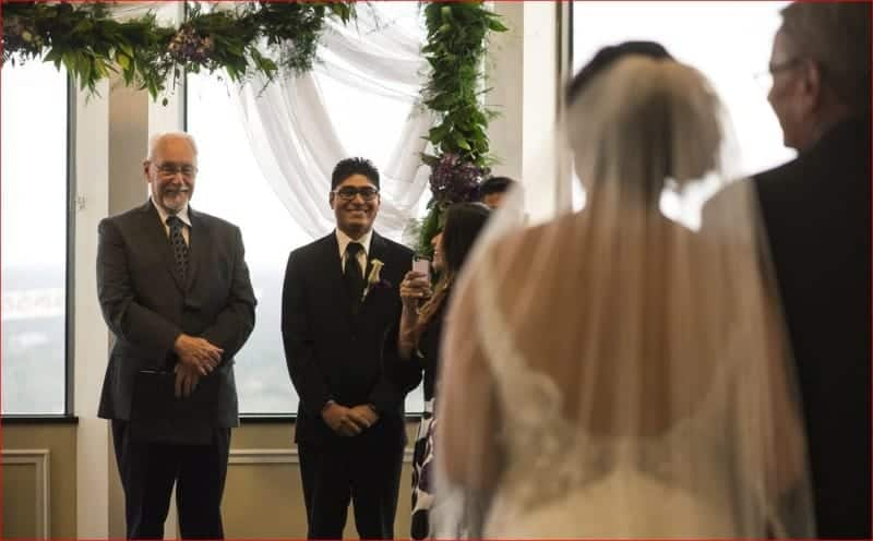 Groom Sees Bride at Citrus Club Wedding
