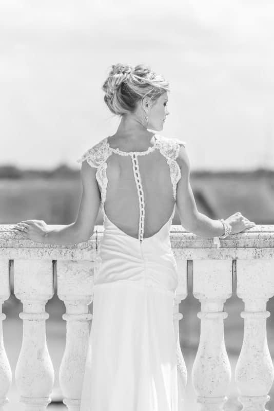 Black and White Bridal Portrait in the Florida Sun