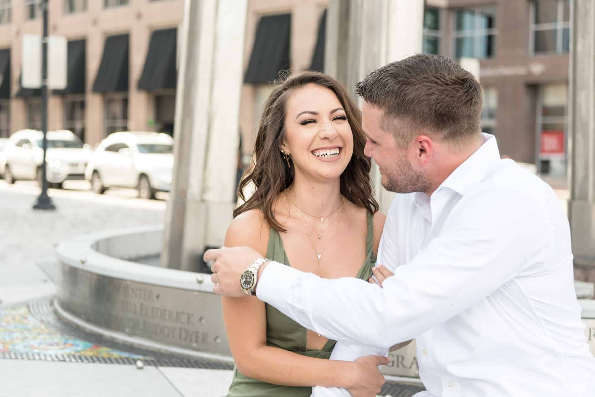He makes her smile as they enjoy Downtown Orlando