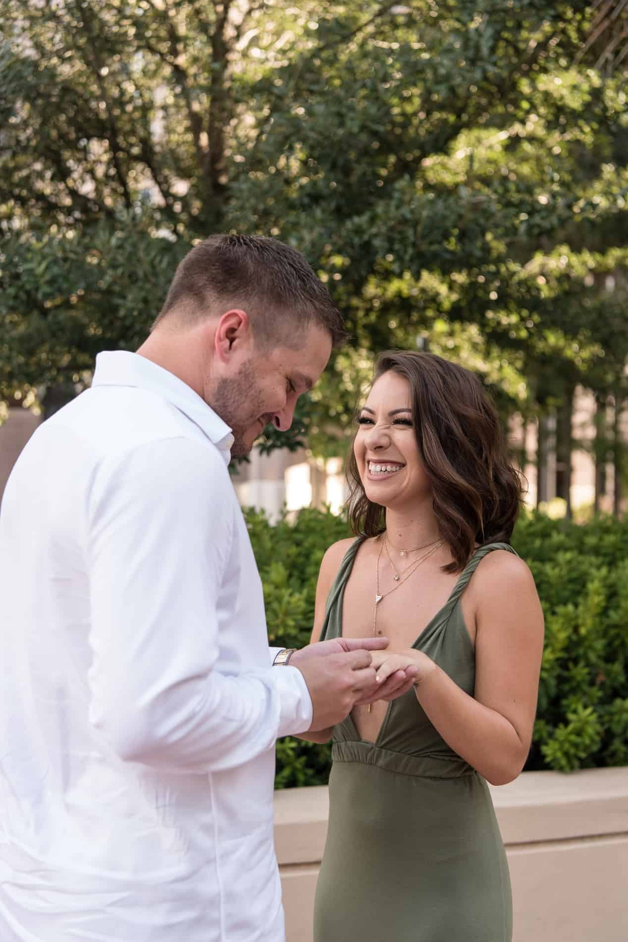 He puts the ring on his Fiance