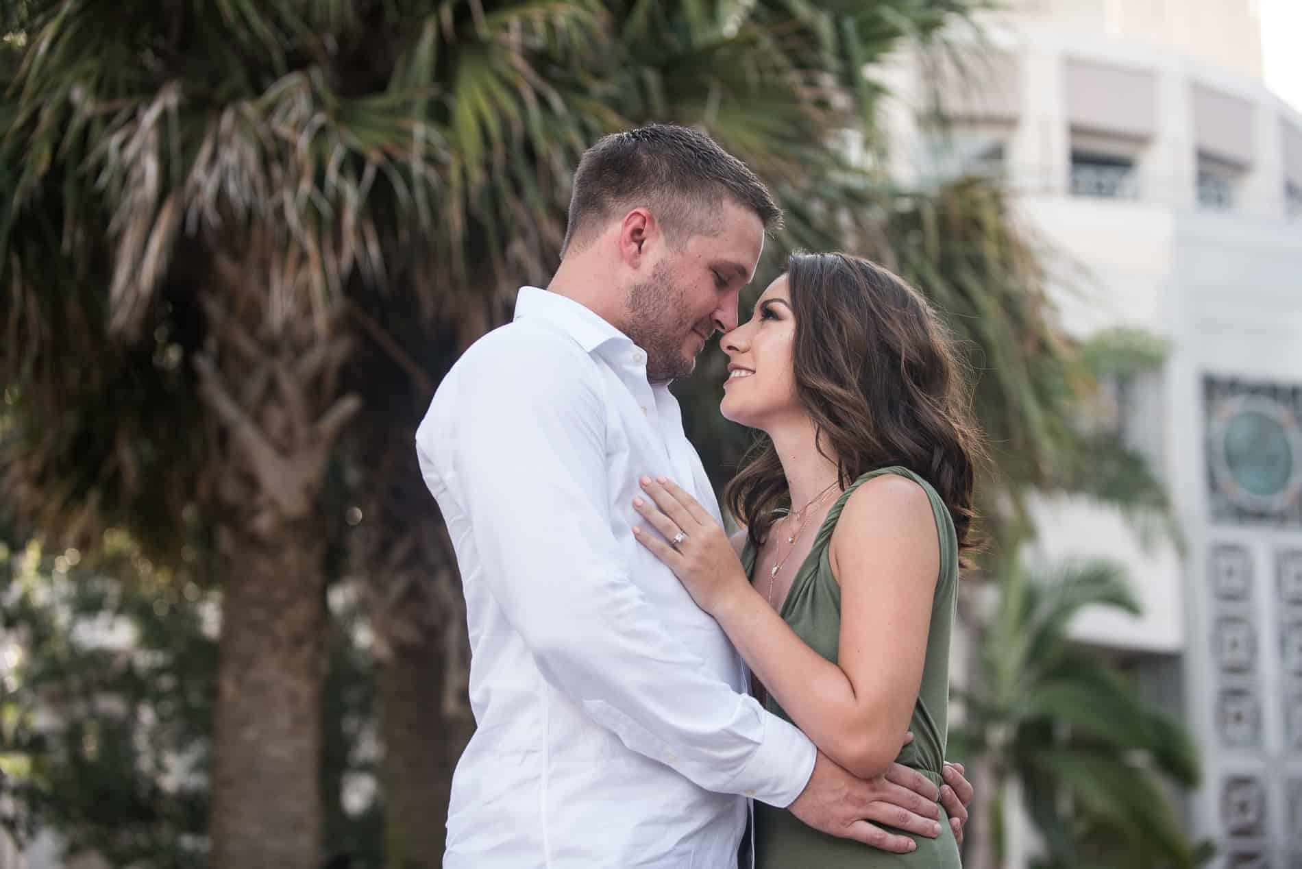 Portrait of a young couple in love in downtown Orlando