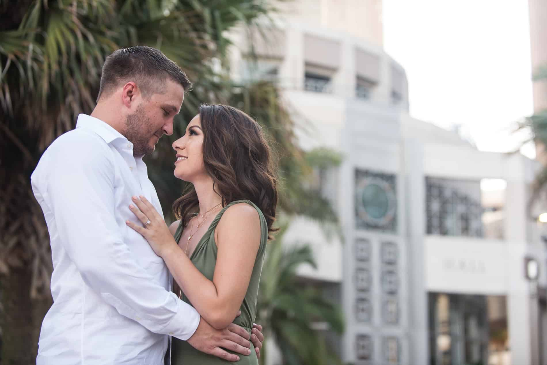 City Hall as a backdrop for Engagement Photos in Orlando