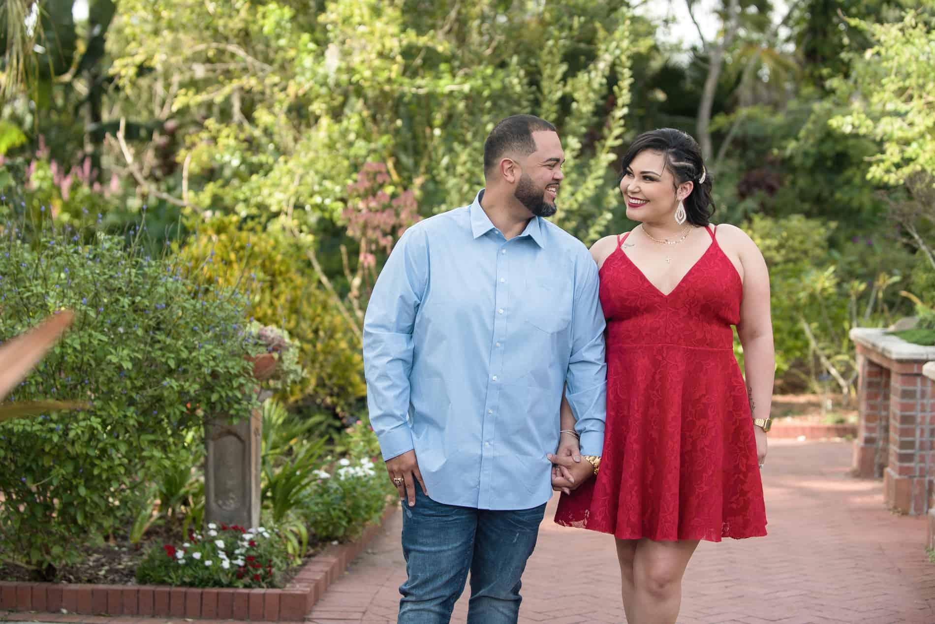 Couple walking through Leu Gardens Engagement Photos