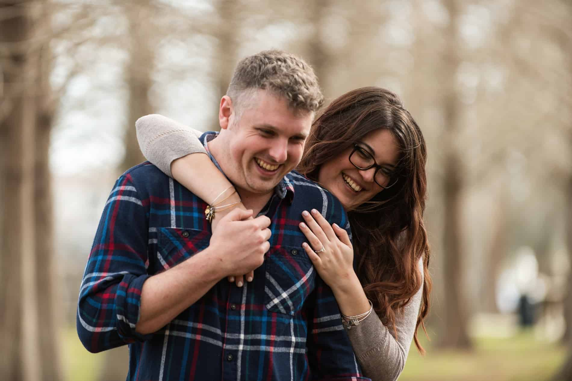 Couple enjoy an embrace in the park