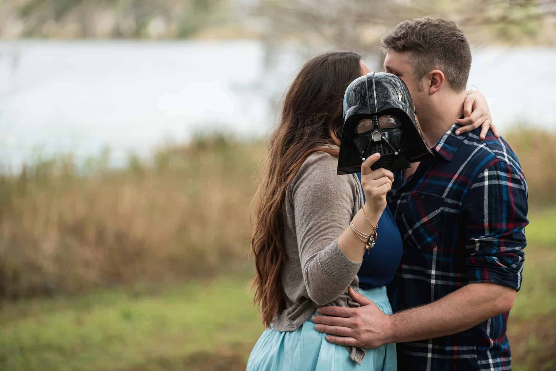 Kissing her fiance during the Star Wars Engagement Session