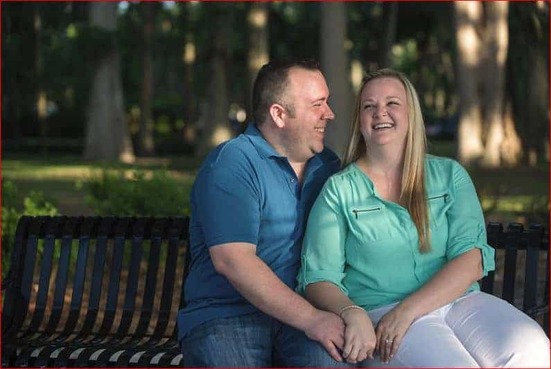 Couple laughing during Engagement Session in Winter Park