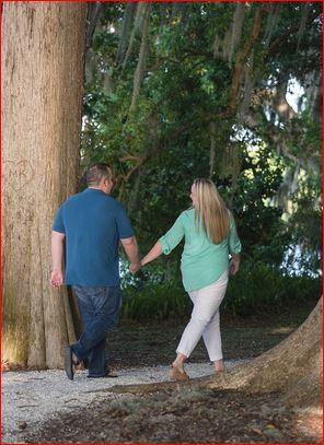 Walking through Kraft Gardens during Engagement Session