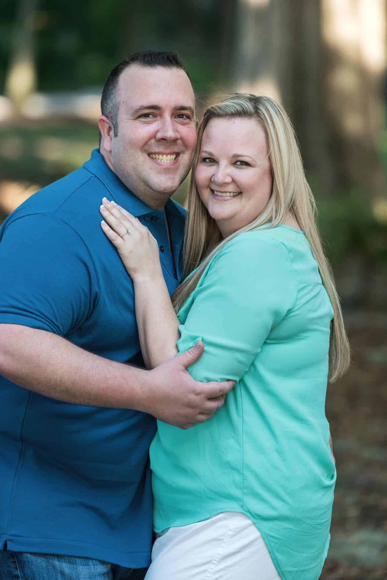 Beautiful outdoor portrait of engaged couple