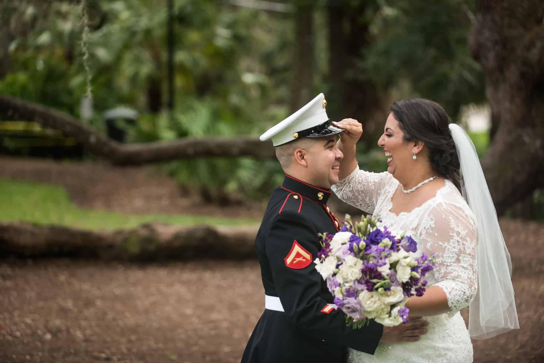 Wedding Photographer Reviews in Orlando | Cute military couple photographed in downtown Very Cute Couple during an Engagement Session with their Orlando Wedding Photographers