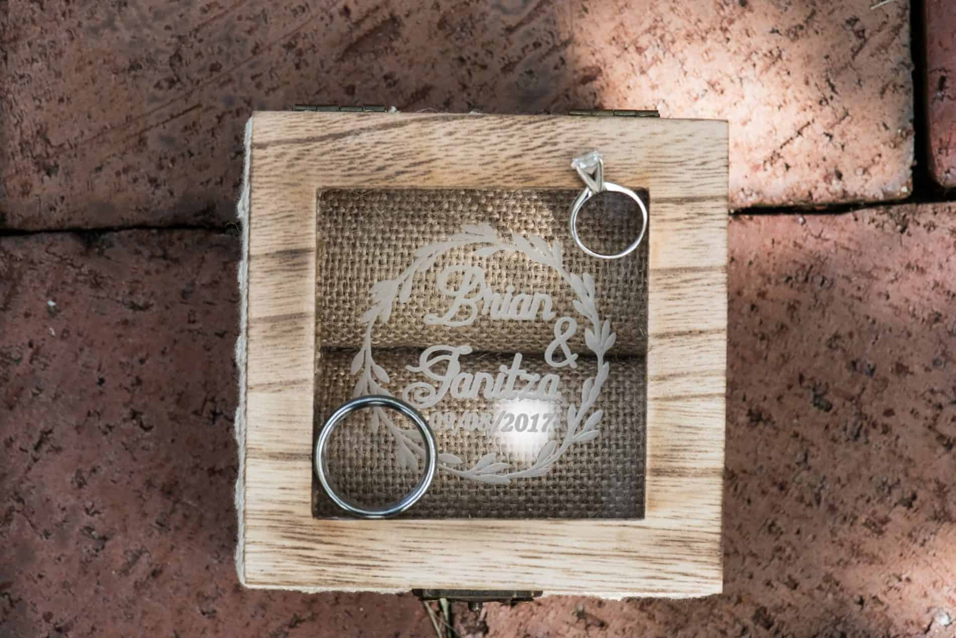 Custom Rustic Ringbox presented at an outdoor Ceremony