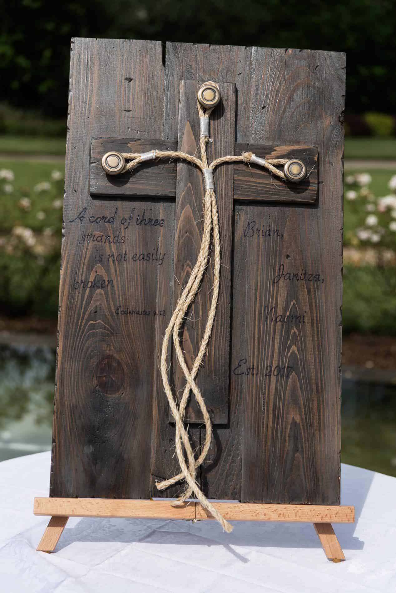 Wooden Tie the Knot Display but at a Outdoor Rustic Ceremony