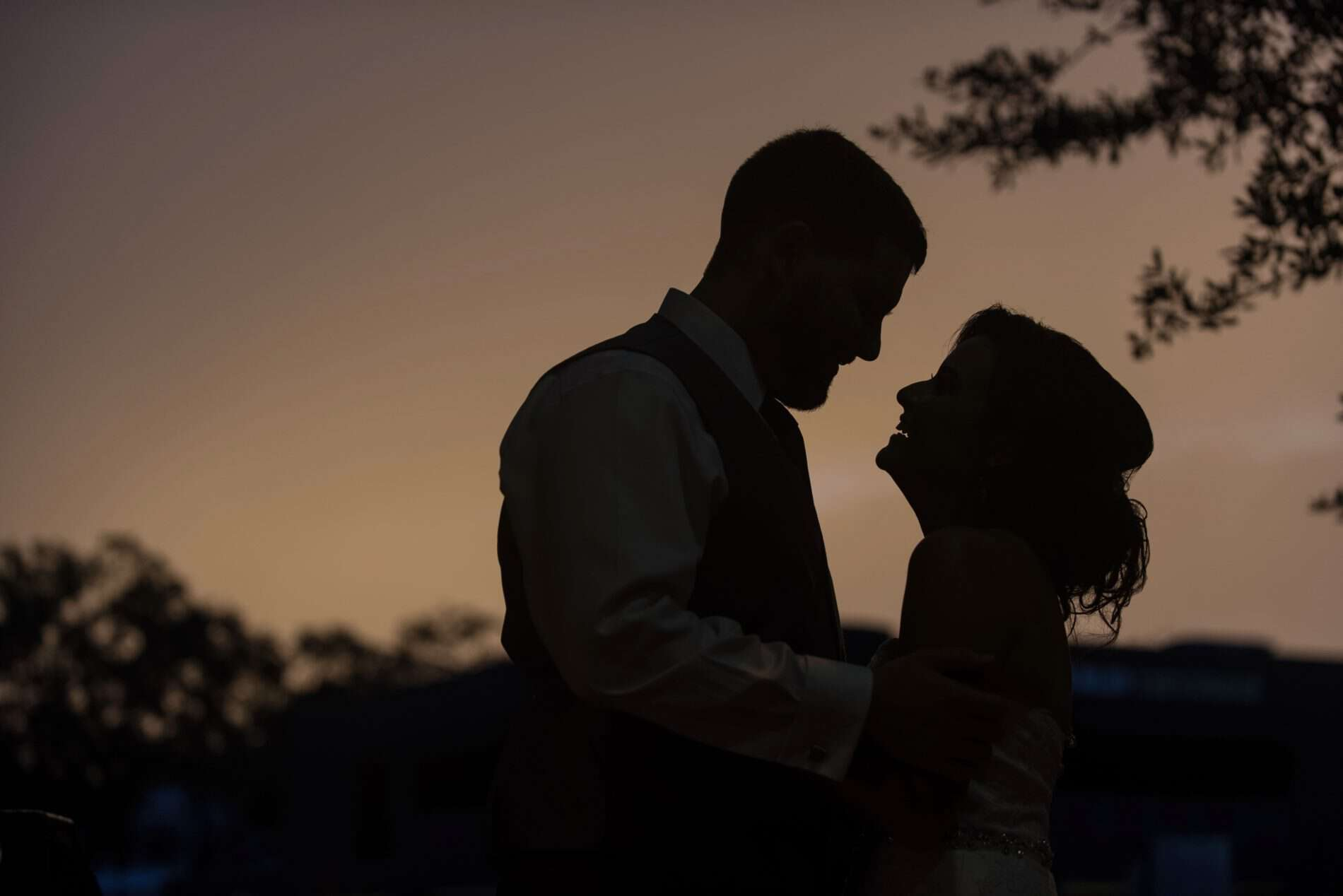 Sunset during a Wedding in a Rustic Rose Garden