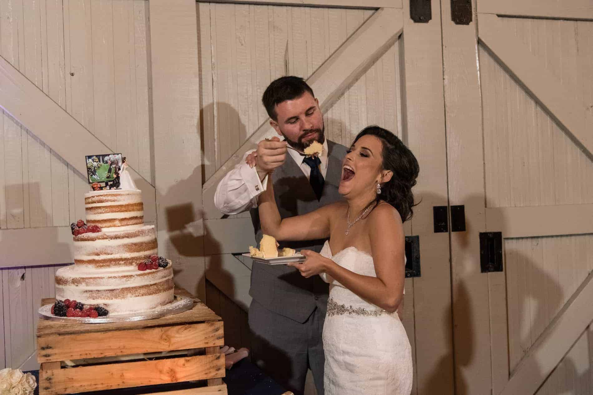 Bride and Groom Cut the Cake at a Rustic Farmers Market Wedding Reception