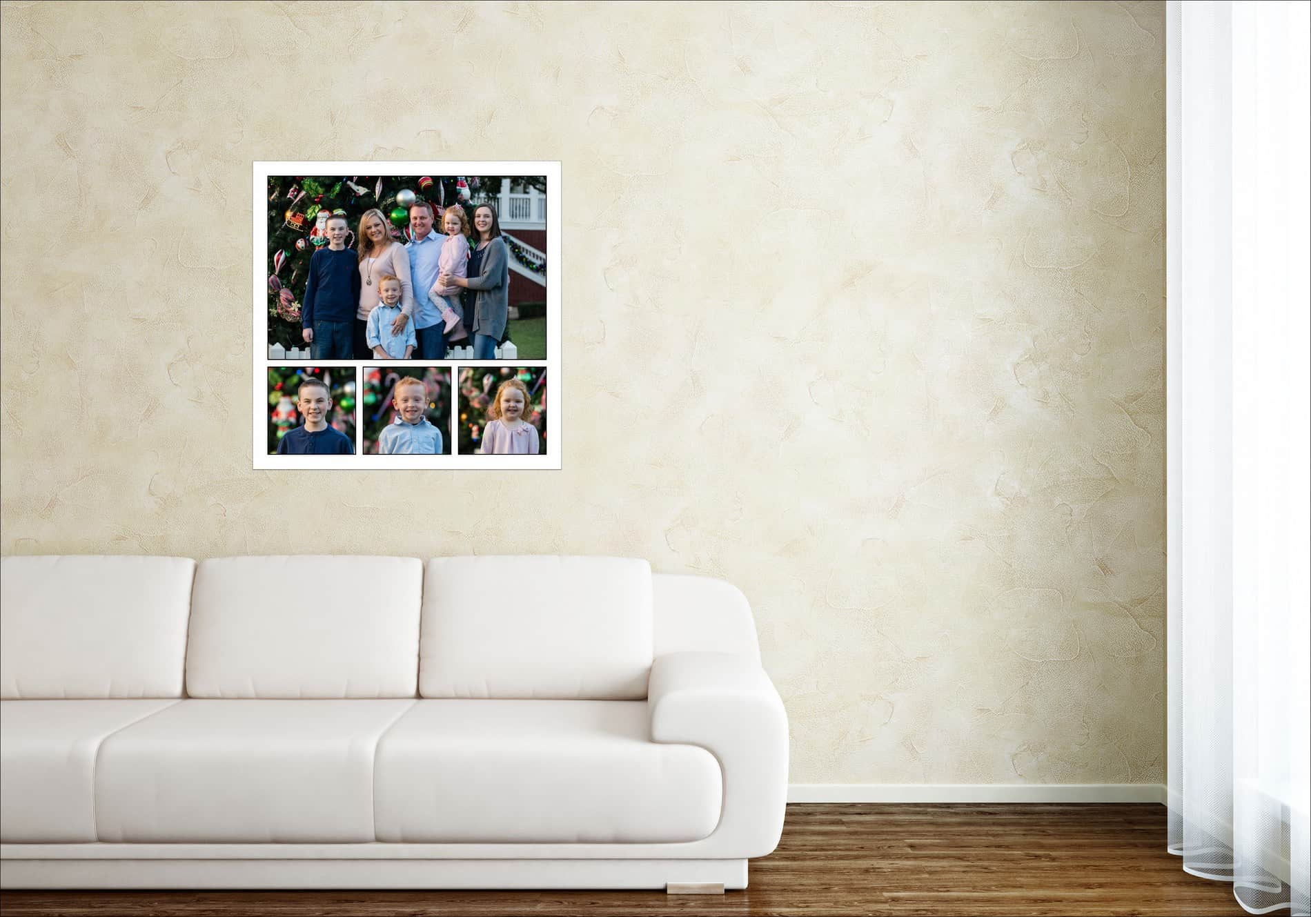 Family Portraits Collection above White Sofa