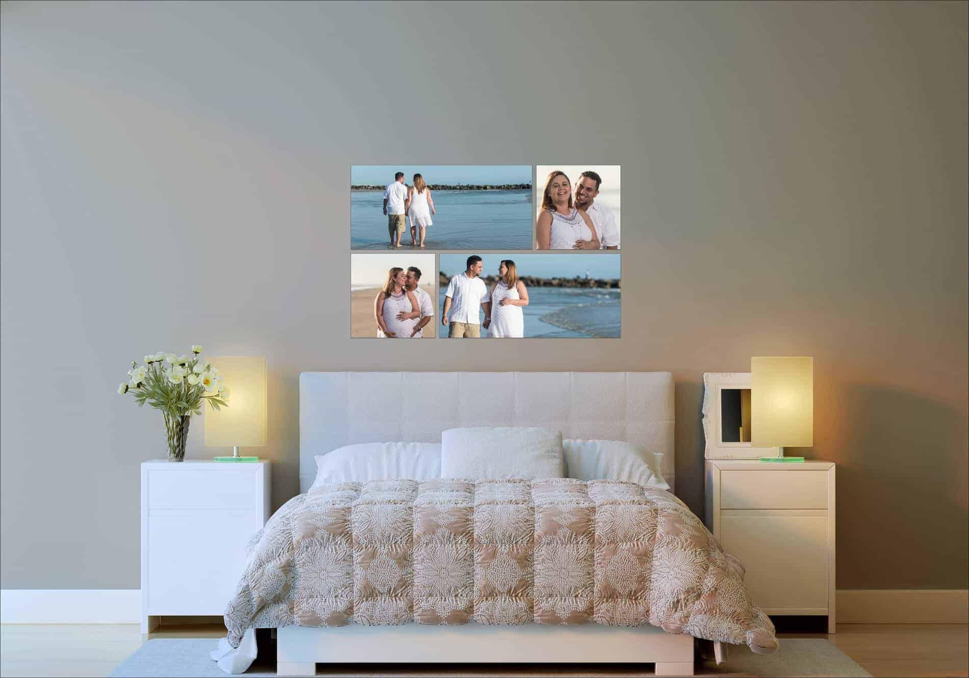 Beach Maternity Photos on bedroom Wall