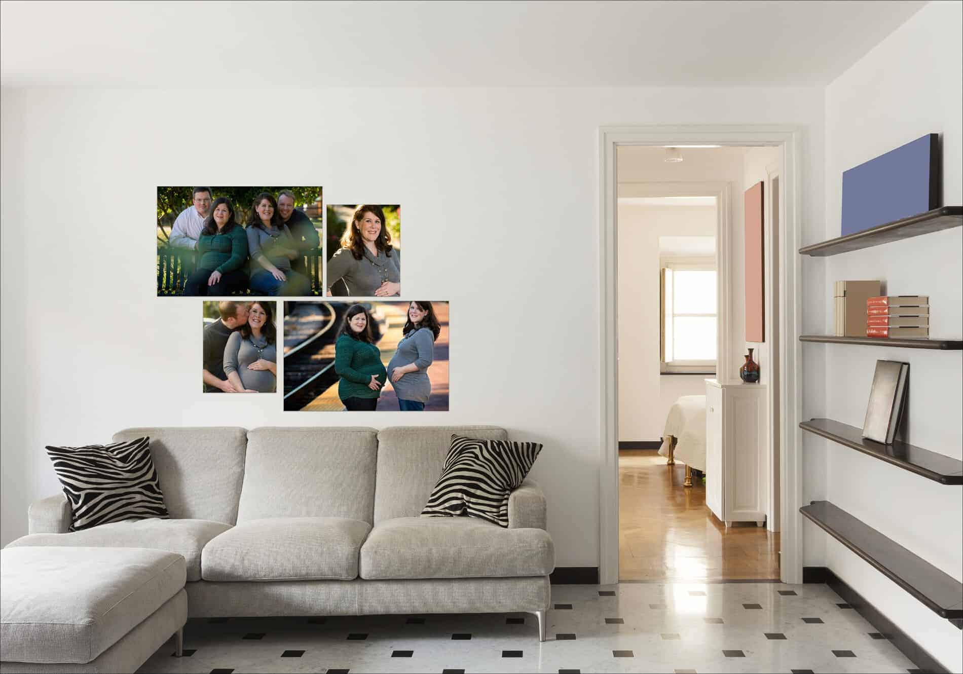 Sisters Maternity Photos on Living Room Wall