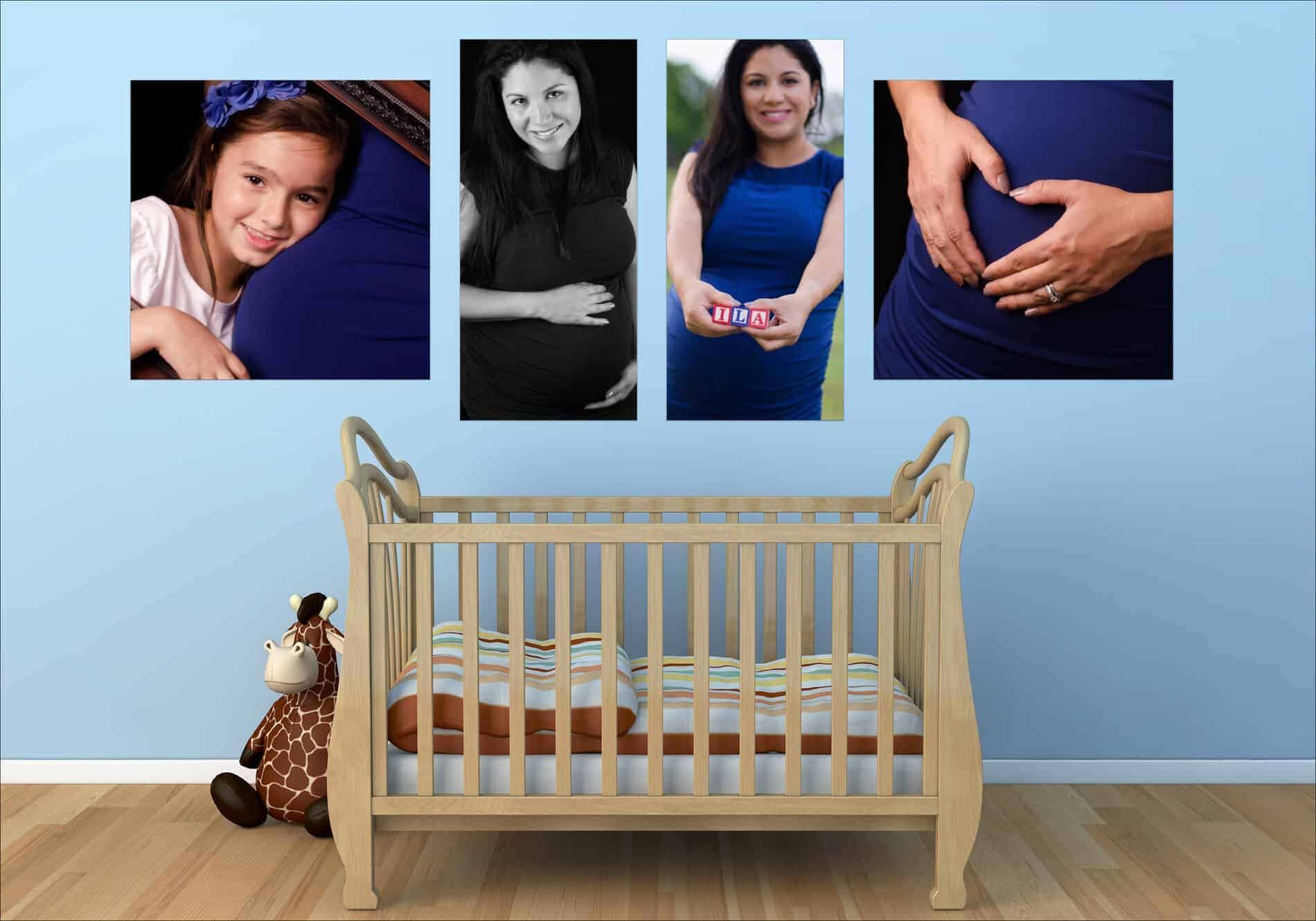 Maternity Photos on a blue wall above a baby crib