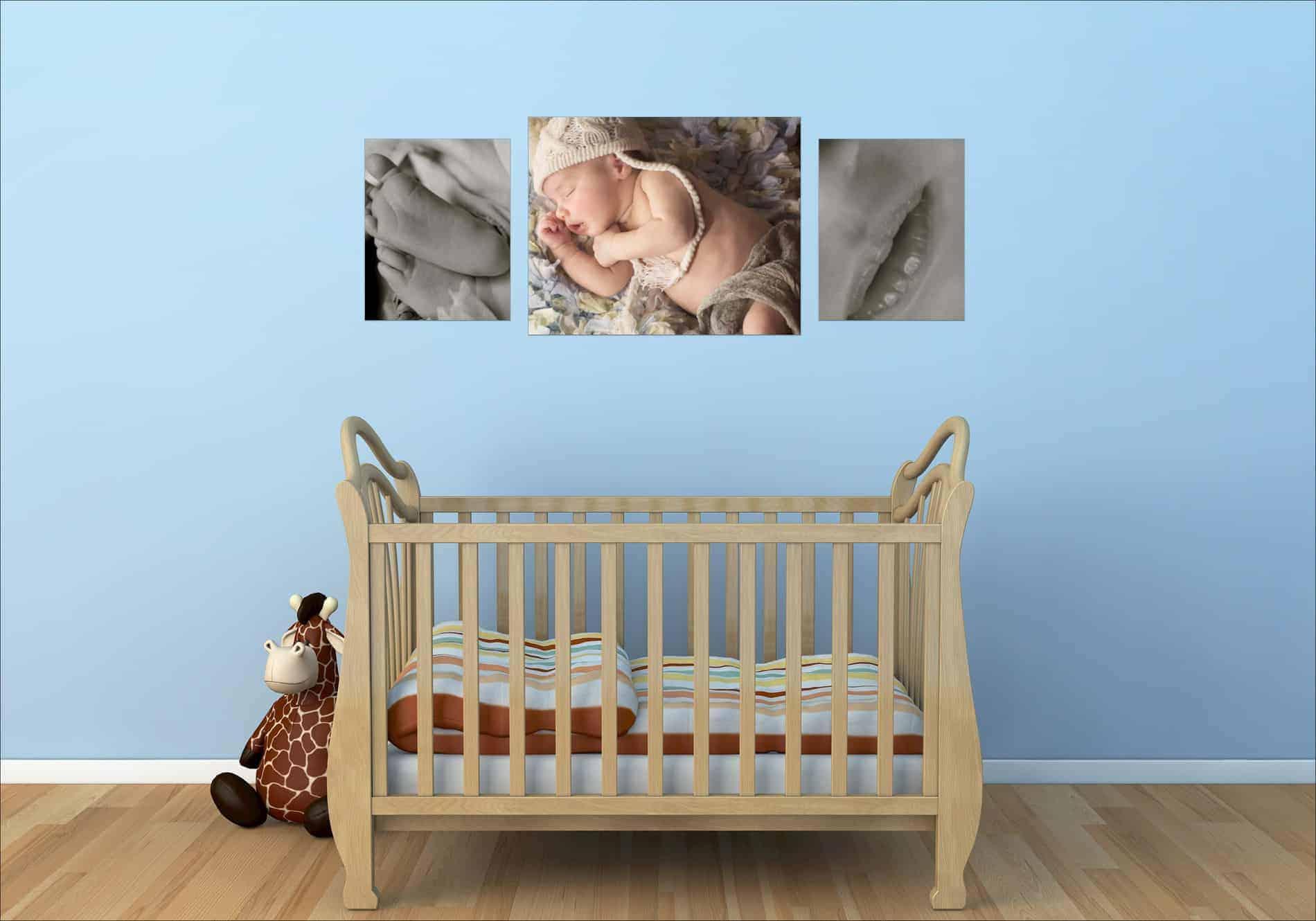 Newborn Baby Photos on Wall above Crib