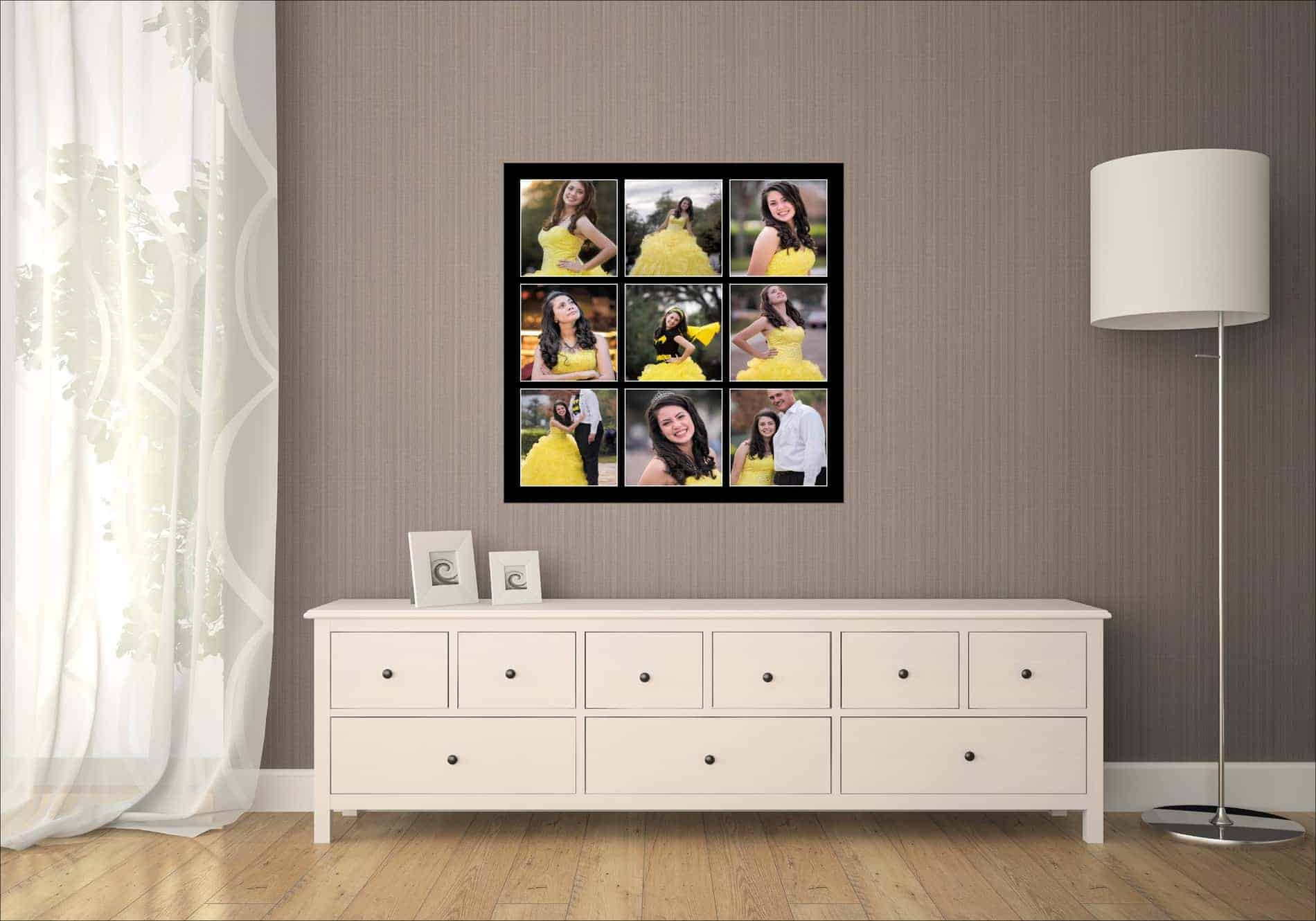 Quinces Formal Portraits on Living Room Wall