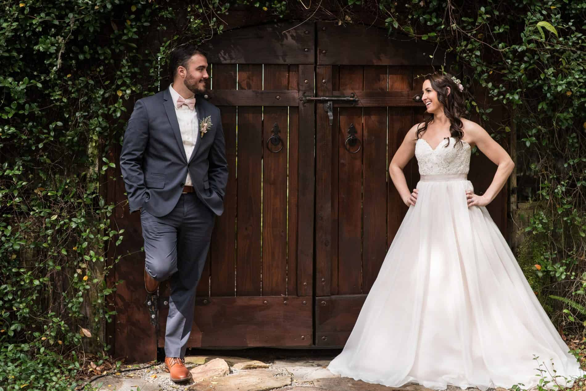 First Look Between Bride and Groom at Harmony Gardens