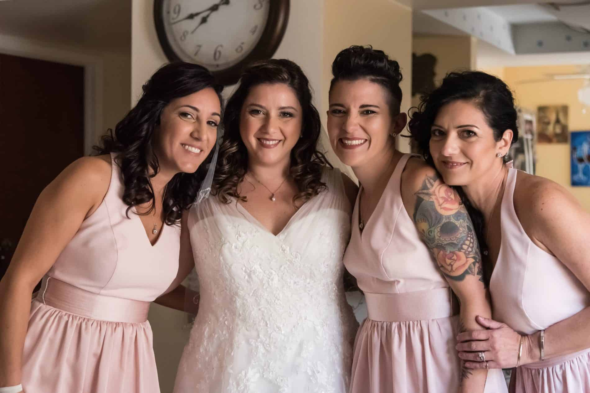 Family Portrait of the Italian bride and her sisters
