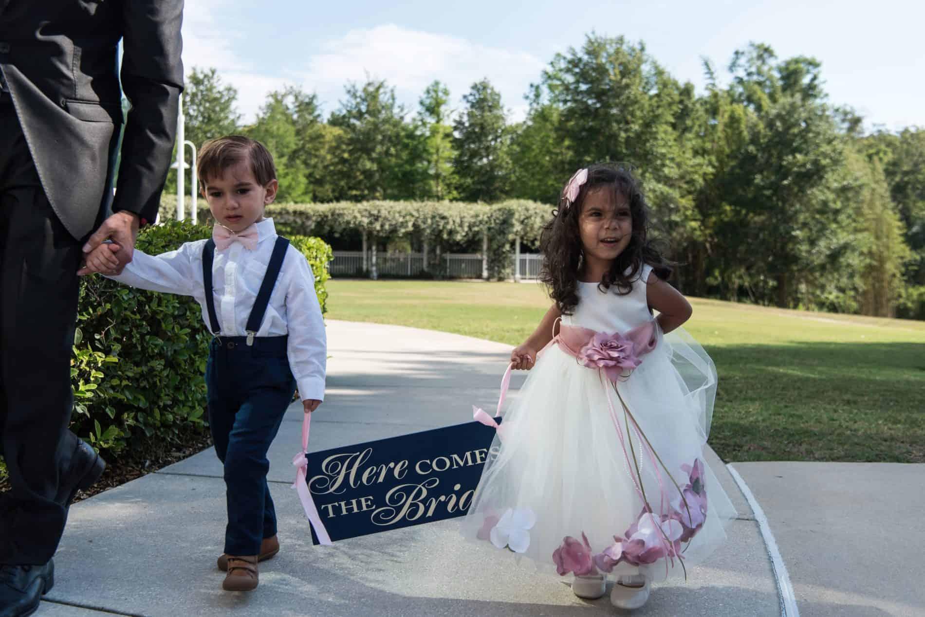 Beautiful Ringbeare0r and Flowergirl at this Lake Mary Italian Wedding