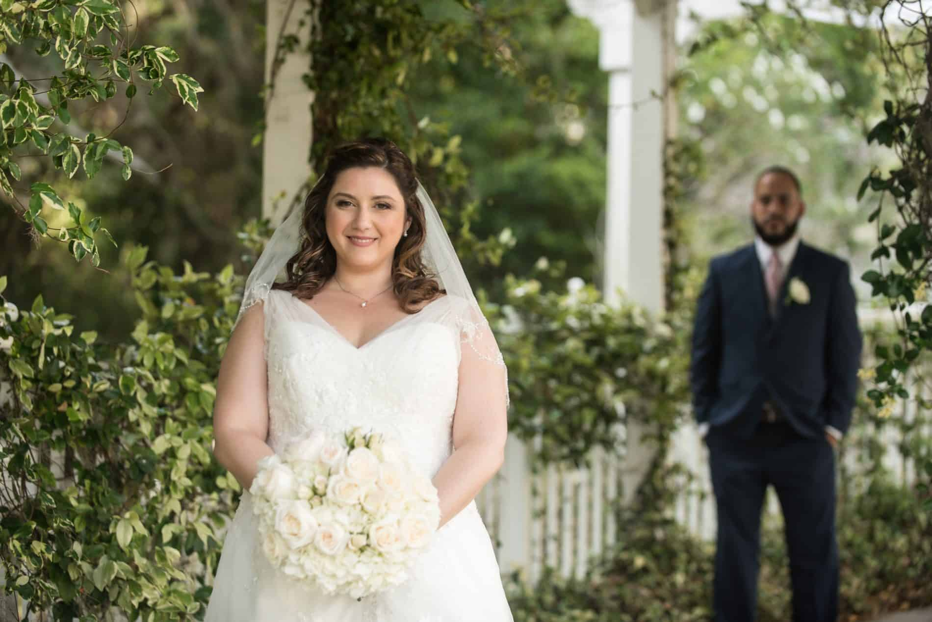 Romantic Bridal Portrait outdoors at her wedding